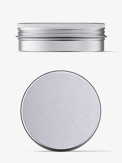 Metallic tin cream jar mockup / top and front view
