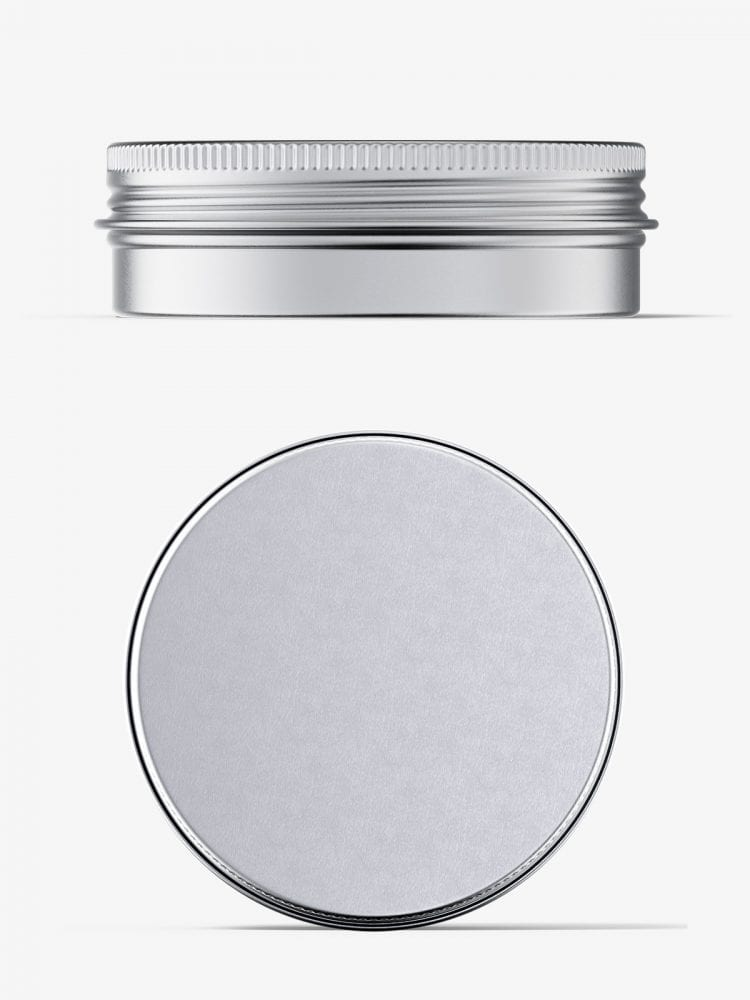 Metallic tin cream jar mockup / top and front view