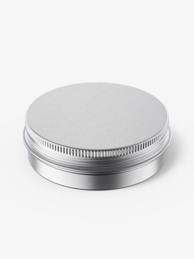 Metallic tin cream jar mockup