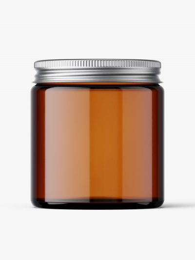 Cosmetic jar mockup with silver cap / 120ml / amber