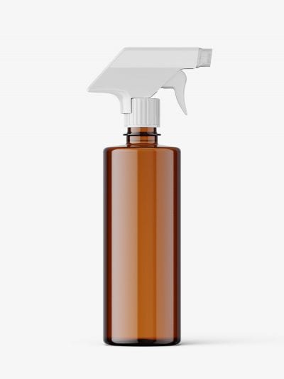 Amber bottle mockup with trigger spray mockup