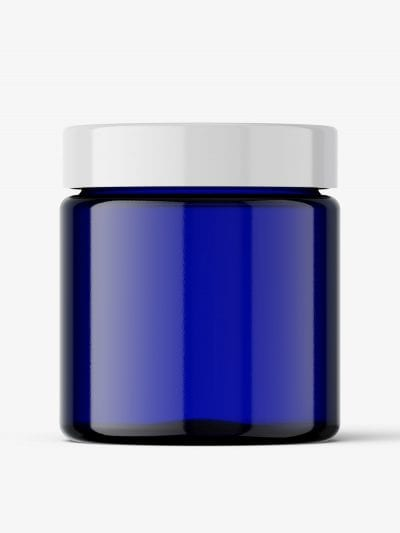 Blue glass jar mockup