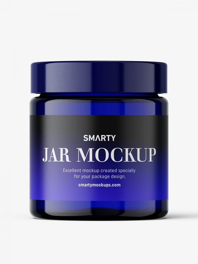 Blue glass jar mockup