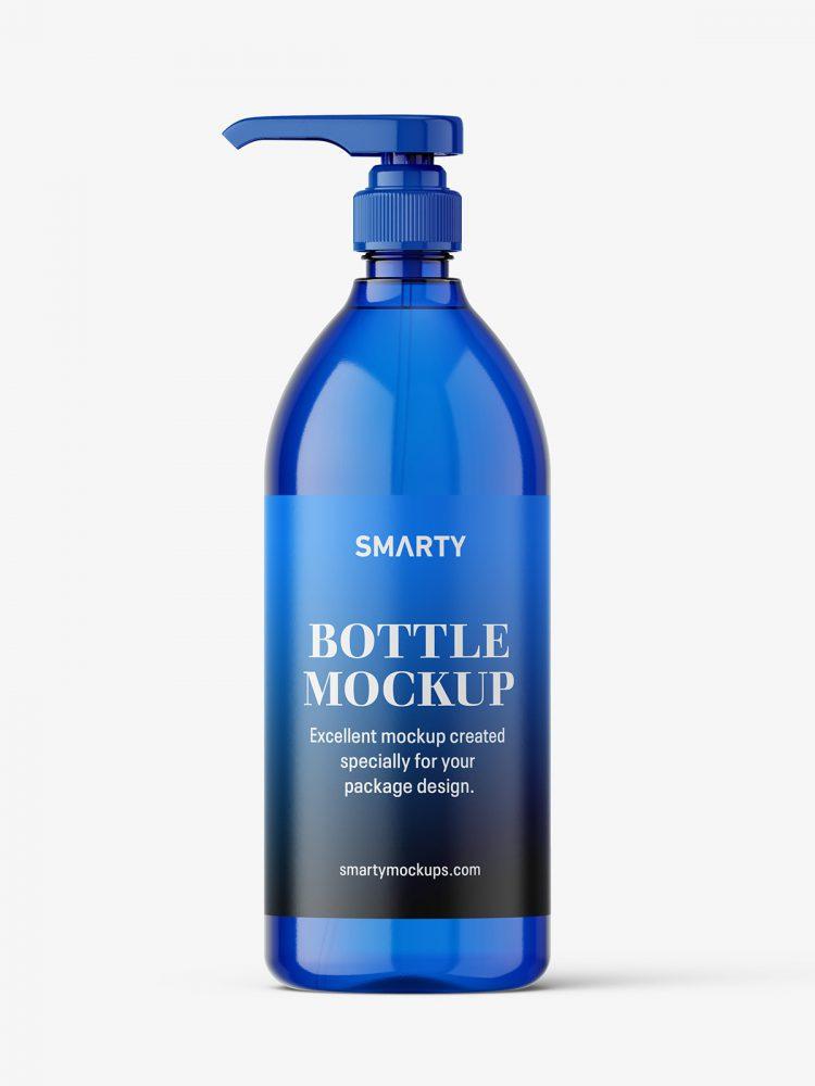 Blue bottle with pump mockup