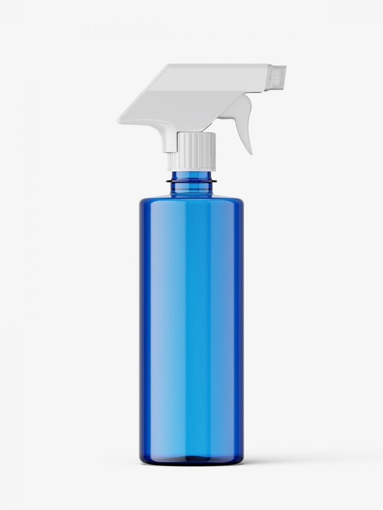 Blue bottle mockup with trigger spray mockup