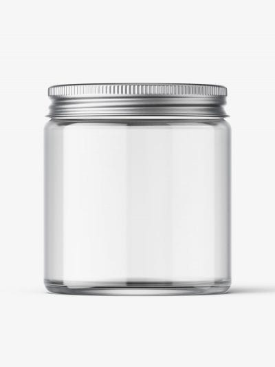 Cosmetic jar mockup with silver cap / 120ml / clear
