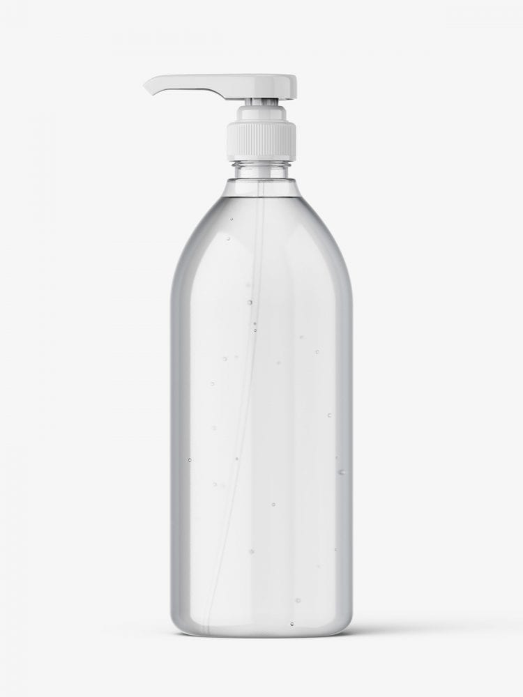 Clear bottle with pump mockup