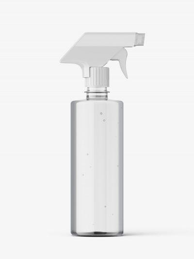 Clear bottle mockup with trigger spray mockup