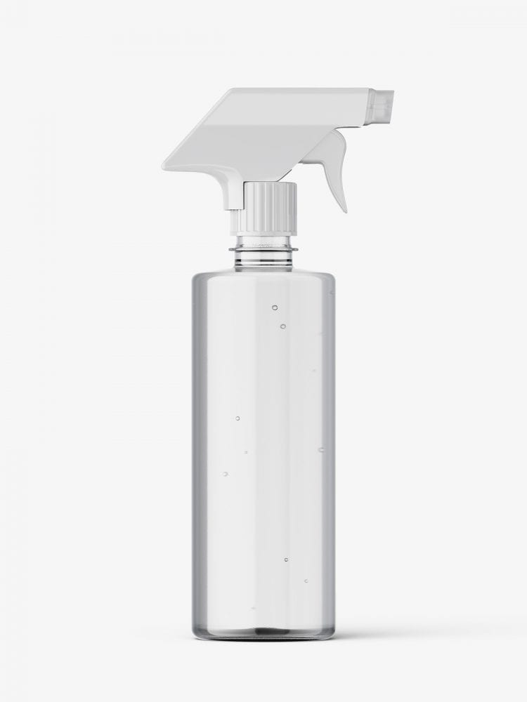 Clear bottle mockup with trigger spray mockup