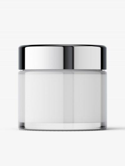 Glass cosmetic jar with reflective lid mockup