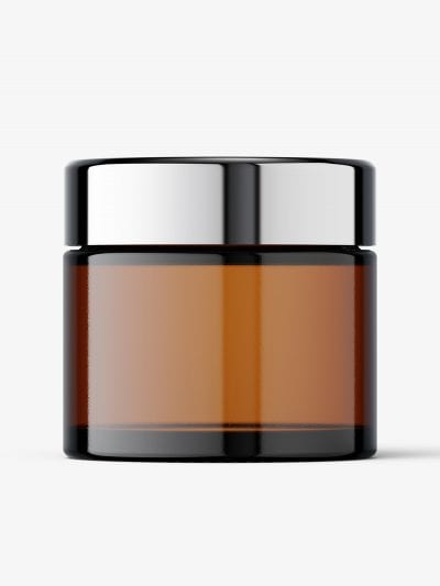 Clear cosmetic jar with reflective lid mockup