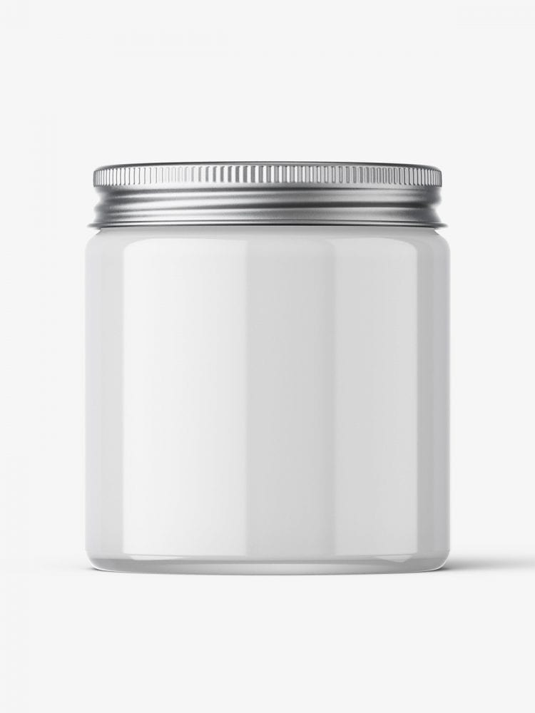 Cosmetic jar mockup with silver cap / 120ml / cream