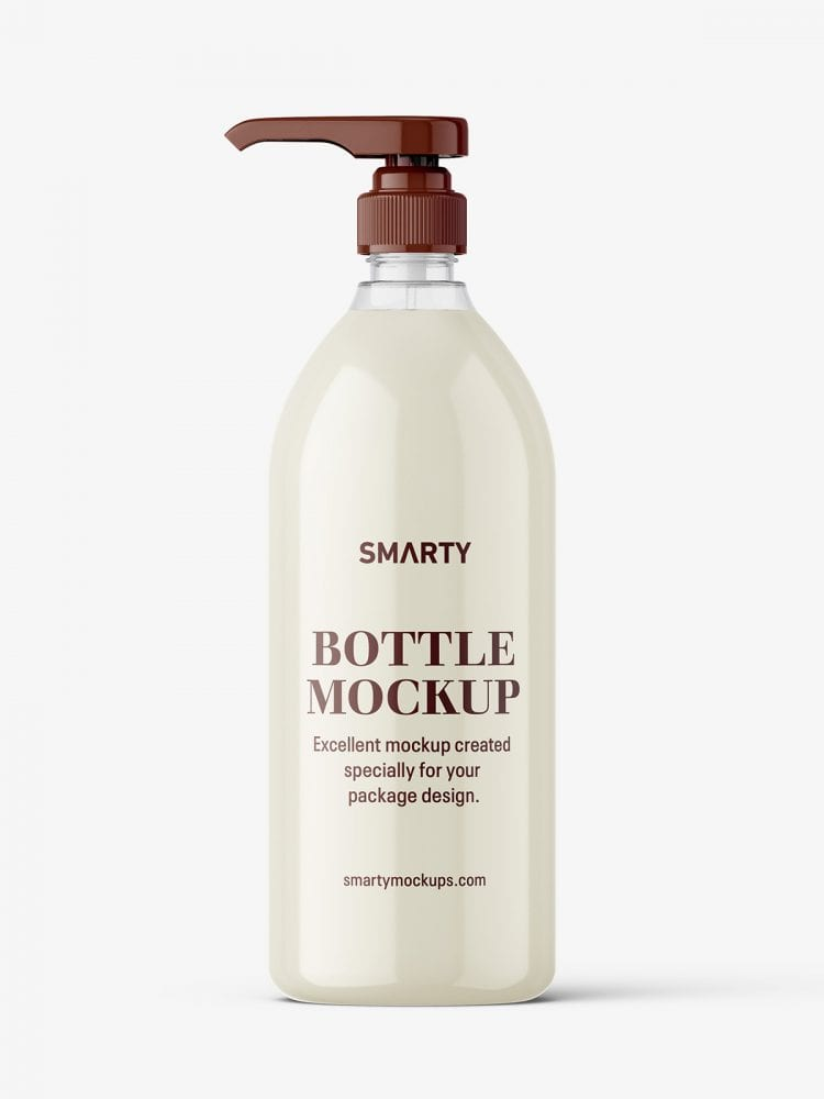 Cream bottle with pump mockup