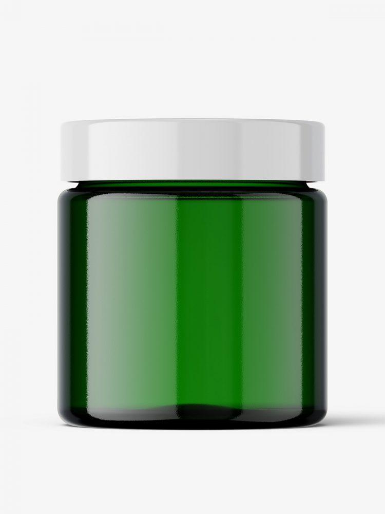 Green glass jar mockup