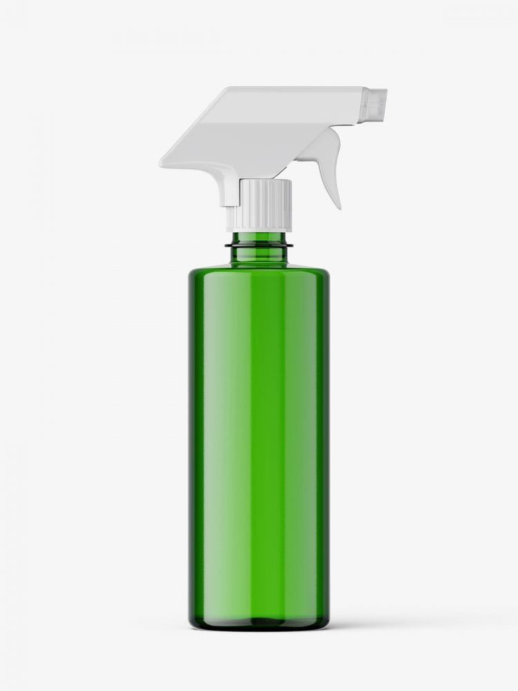 Green bottle mockup with trigger spray mockup