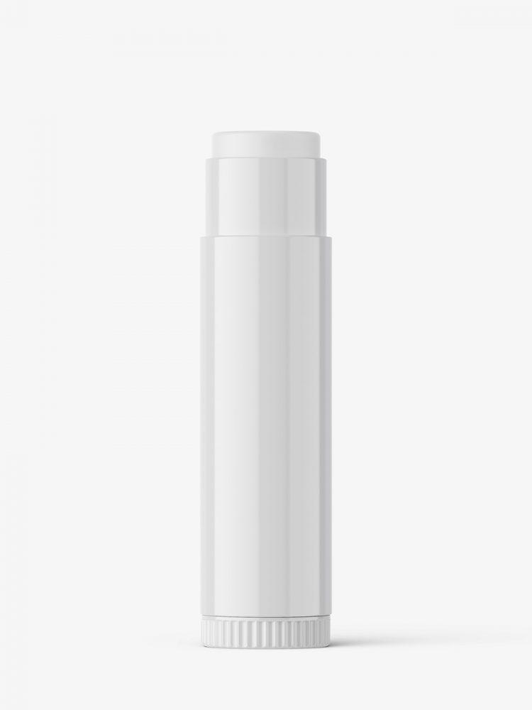 Lip balm tube mockup / glossy