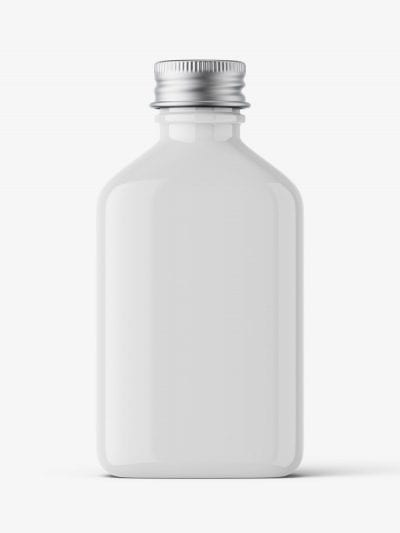 Square bottle with silver cap mockup