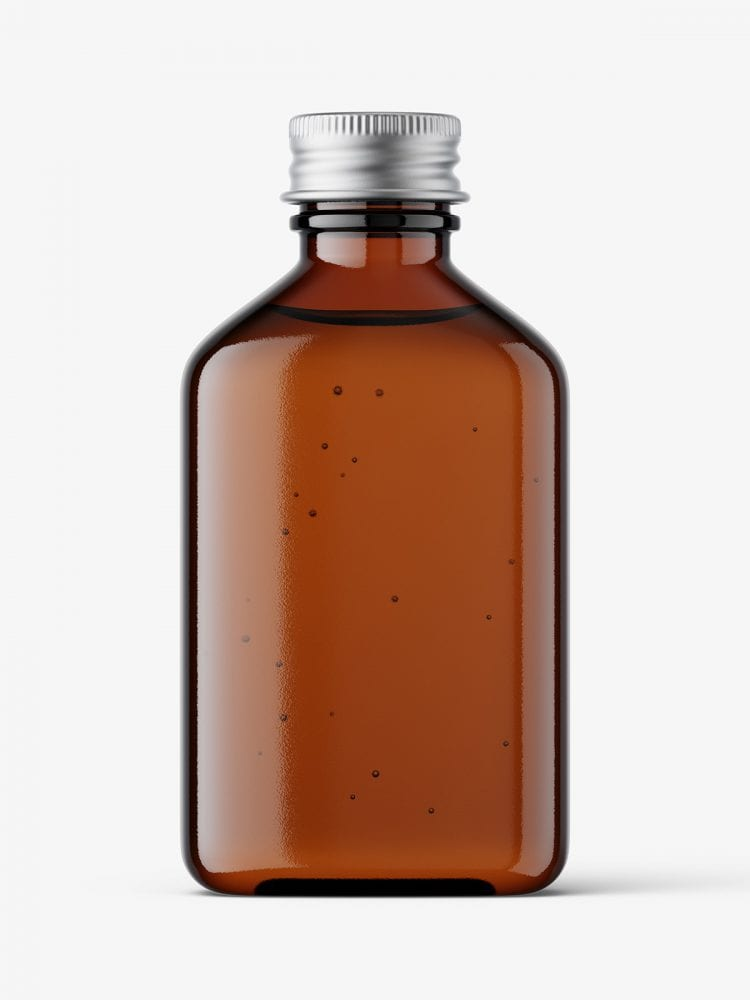 Square bottle with silver cap mockup / amber
