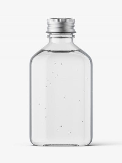 Square bottle with silver cap mockup / clear