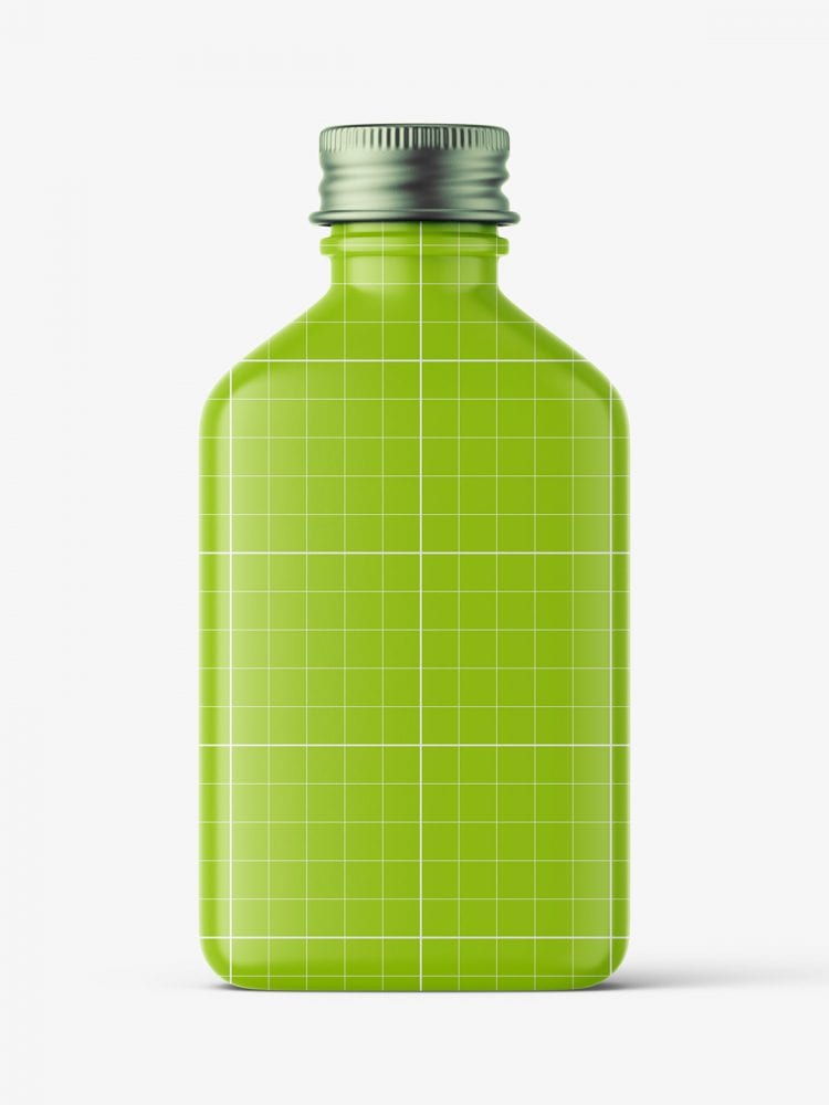 Square bottle with silver cap mockup / gel