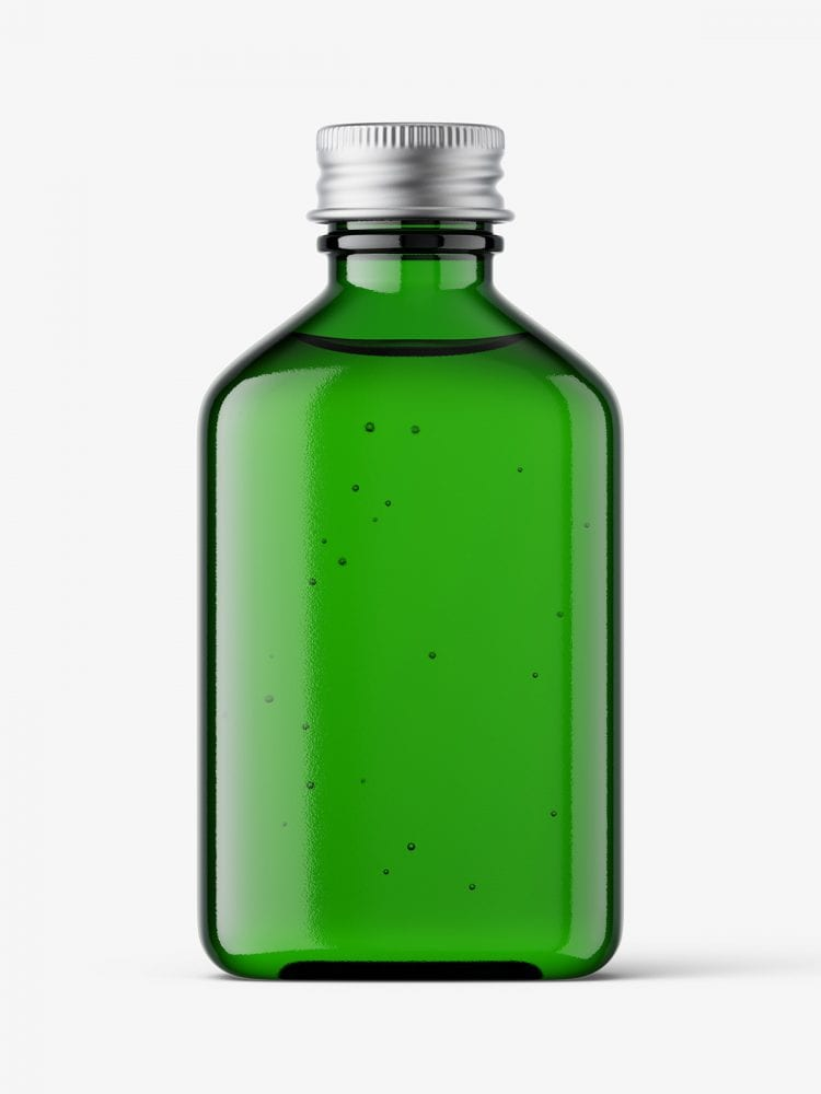 Square bottle with silver cap mockup / green