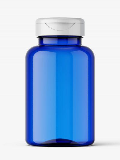Blue plastic jar mockup