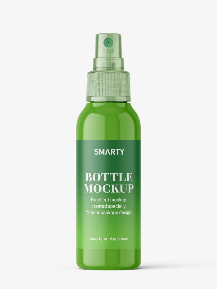 Bottle with transparent spray mockup / glossy