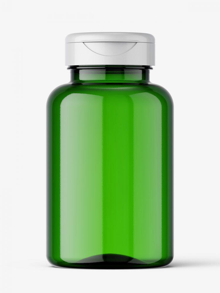 Green plastic jar mockup