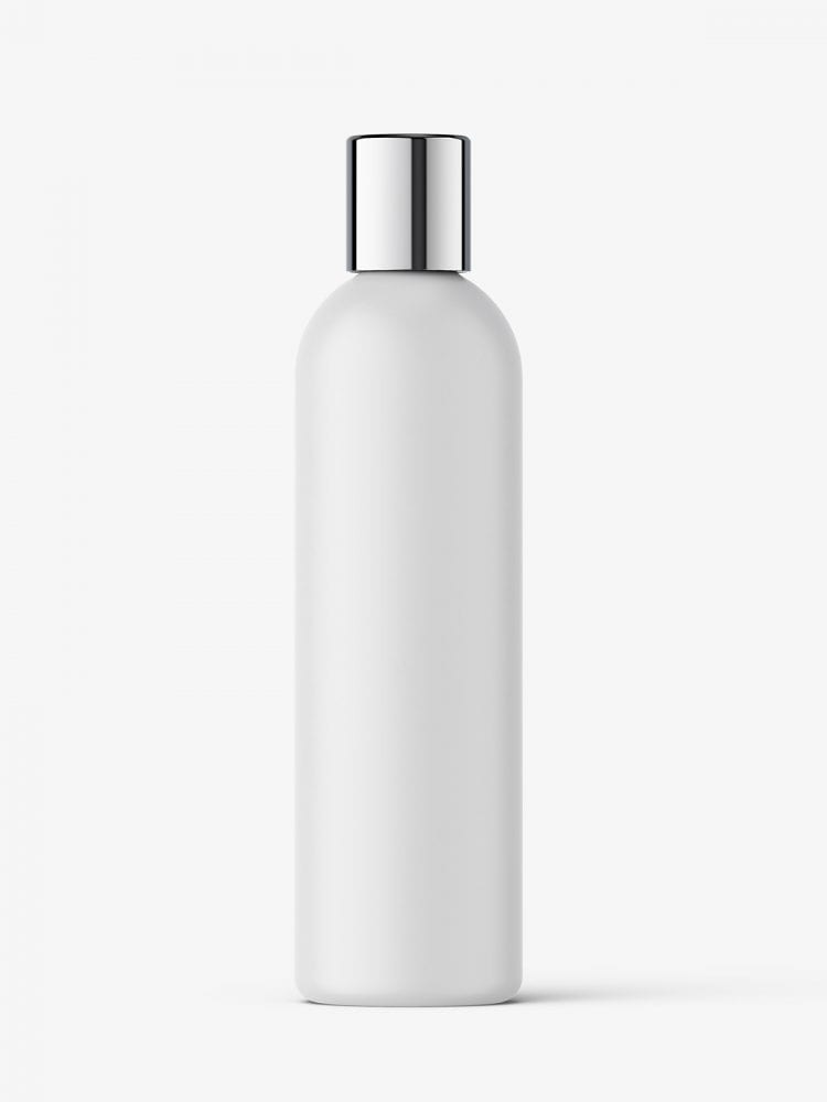 Cosmetic bottle with silver cap / matt