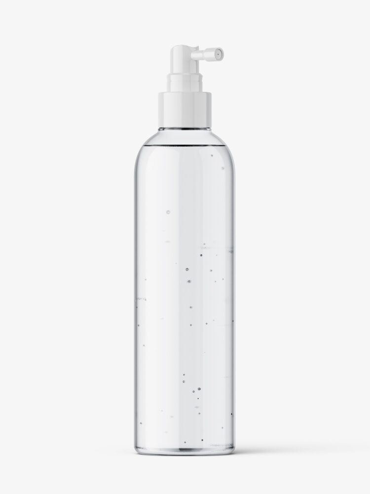 Clear bottle with pump dispenser mockup