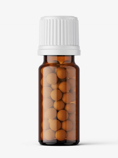 Amber bottle with pills mockup / 10 ml
