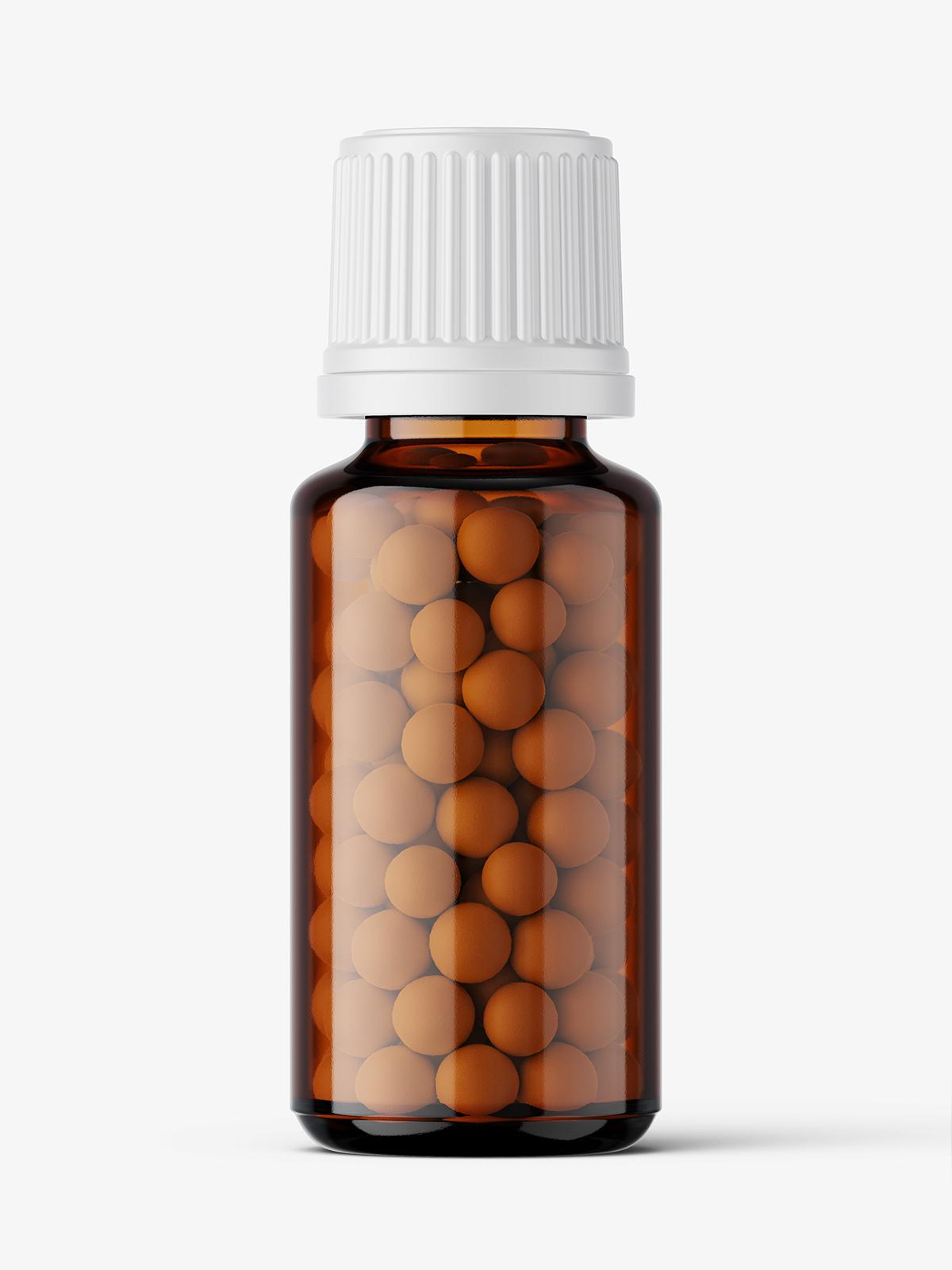 Download Amber bottle with pills mockup / 15 ml - Smarty Mockups Free Mockups