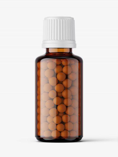 Amber bottle with pills mockup / 30 ml