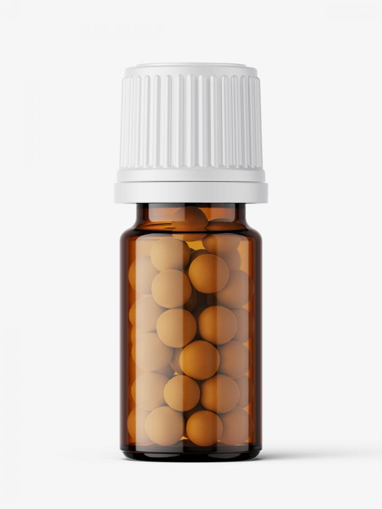 Amber bottle with pills mockup / 5 ml