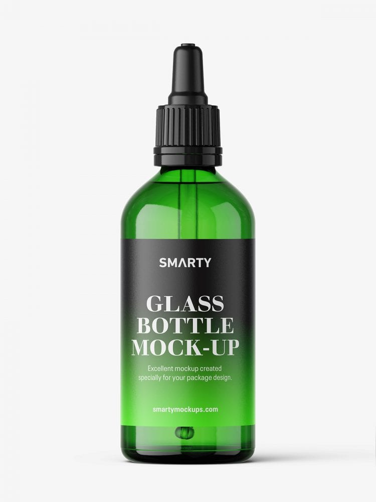 Green dropper bottle mockup / 100 ml