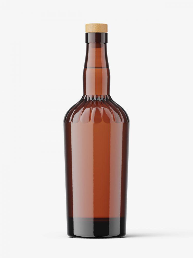 Brown vodka bottle mockup