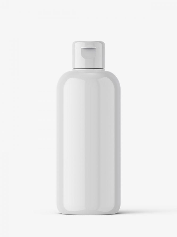 Glossy bottle mockup with flip top mockup