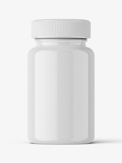 Glossy pharmaceutical jar mockup
