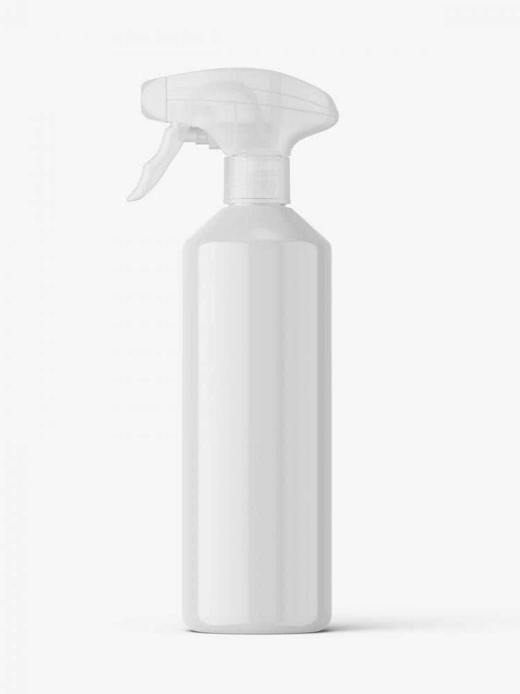 Bottle with trigger spray mockup / glossy