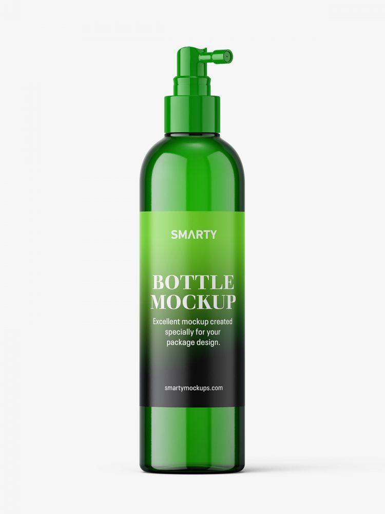 Green bottle with pump dispenser mockup