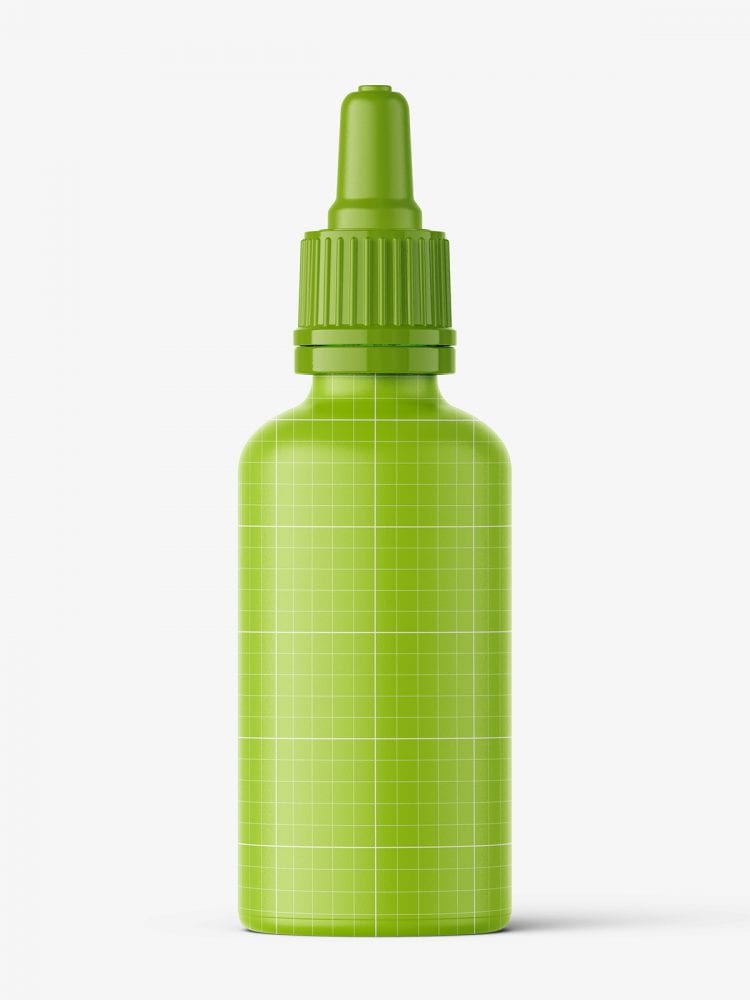 Green dropper bottle mockup / 50 ml