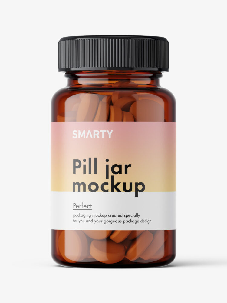 Jar with tablets mockup / amber