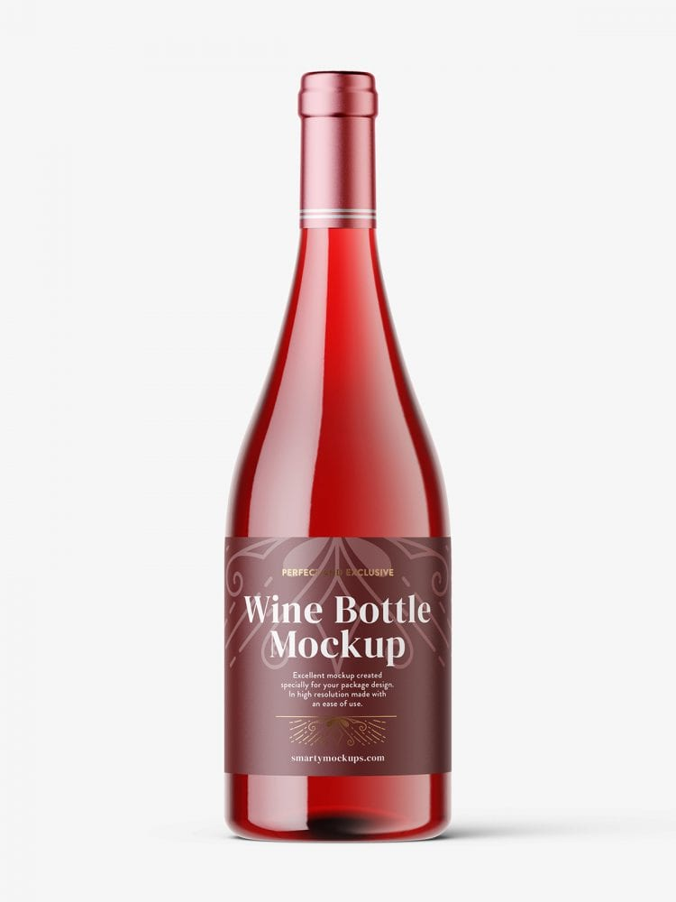 Red wine in clear bottle mockup