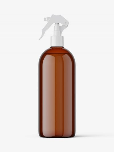 Bottle with trigger spray mockup / amber
