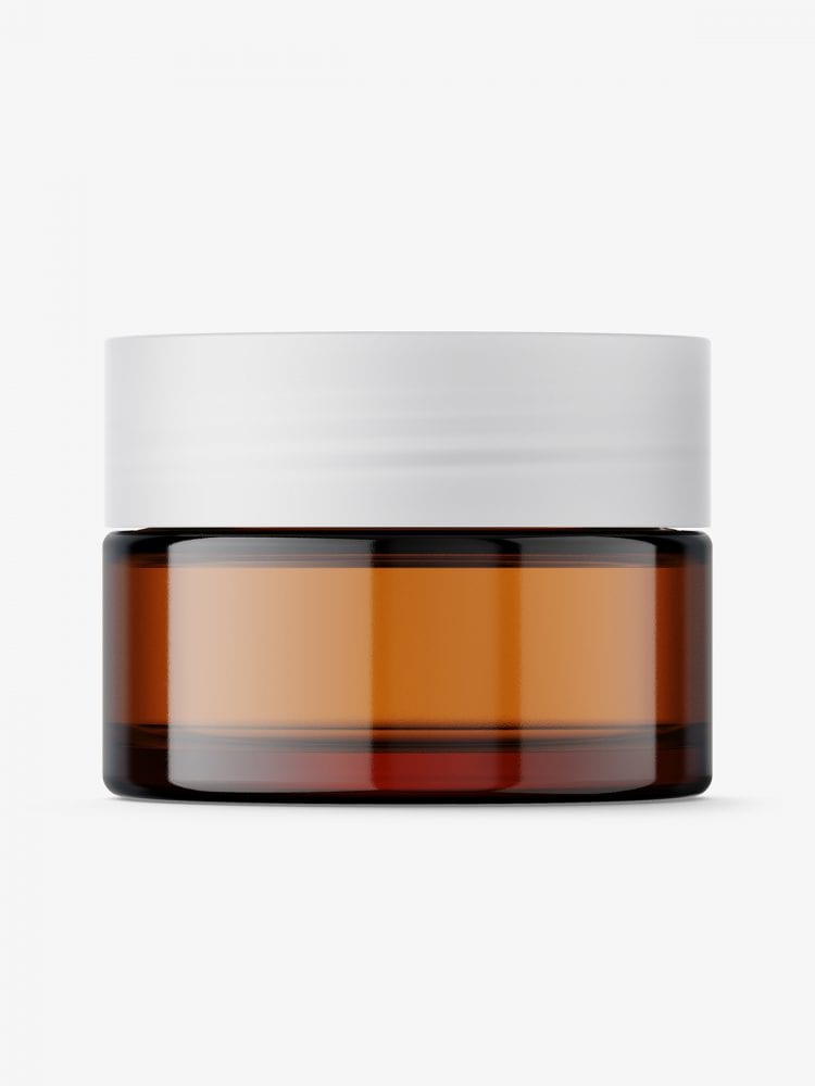 Cosmetic glass jar mockup / amber