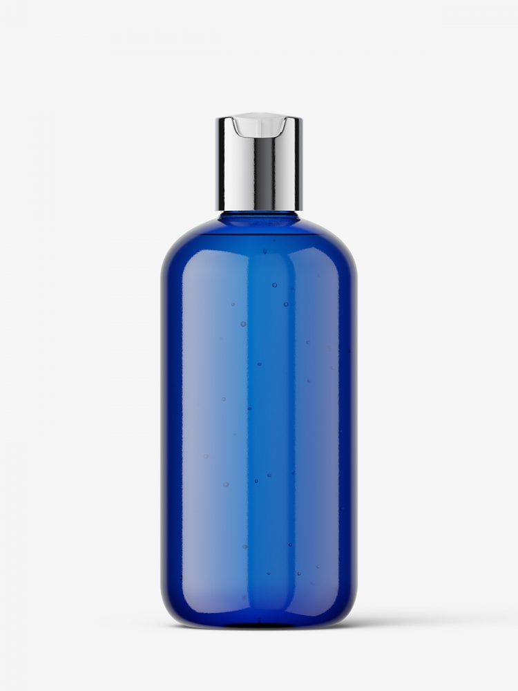 Bottle with disctop cap mockup / blue