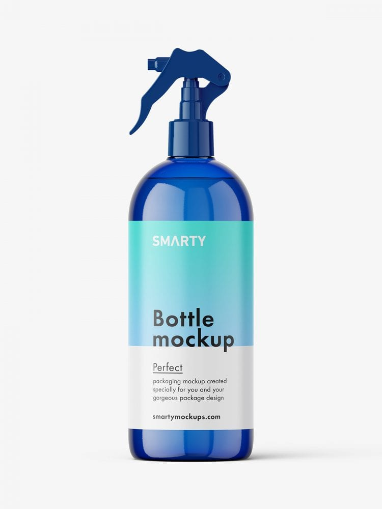 Bottle with trigger spray mockup / blue