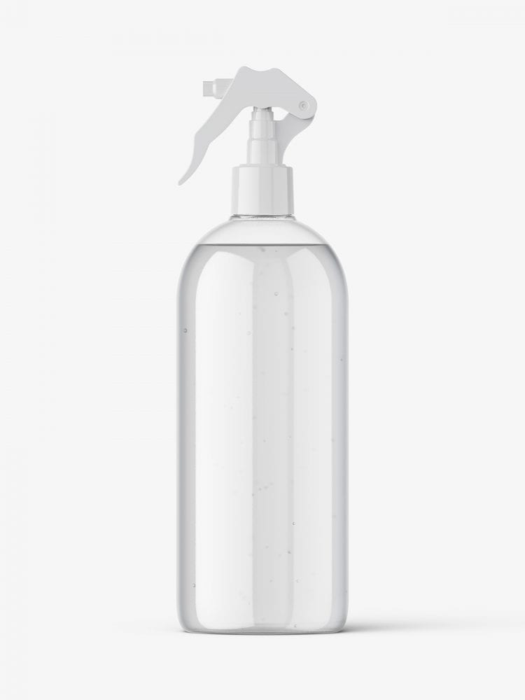 Bottle with trigger spray mockup / clear