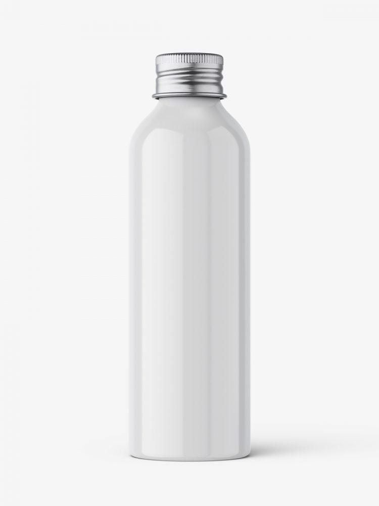 Aluminium screw lid bottle mockup / glossy