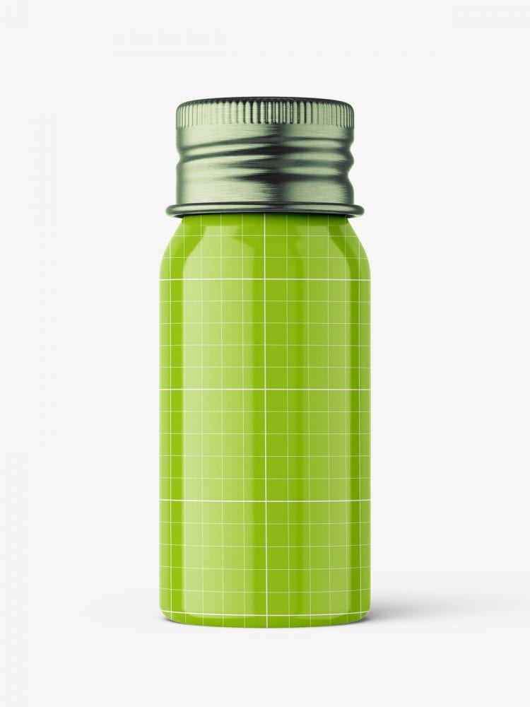 Aluminium screw lid bottle mockup / glossy